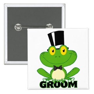 cute groom cartoon frog character button