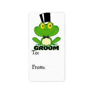 cute groom cartoon frog character label
