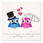 "Cute Groom Owl and Bride Owl Wedding Invitation 5.25"" Square Invitation Card"