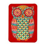 Cute Groovy Retro Owl Art Premium Magnet Rectangular Magnet