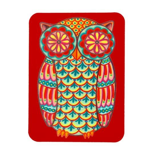 Cute Groovy Retro Owl Art Premium Magnet