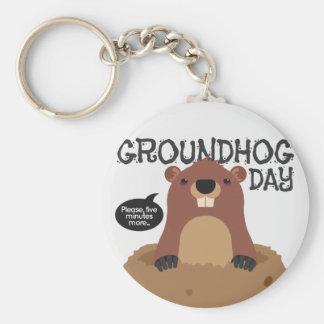 Cute groundhog day cartoon illustration keychain