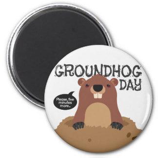 Cute groundhog day cartoon illustration magnet