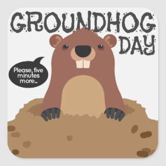 Cute groundhog day cartoon illustration square sticker
