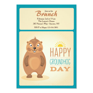 Cute Groundhog Day Invitation