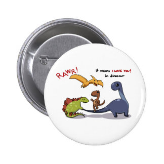 Cute Group of Dinosaurs Rawr Means We love you :) 2 Inch Round Button