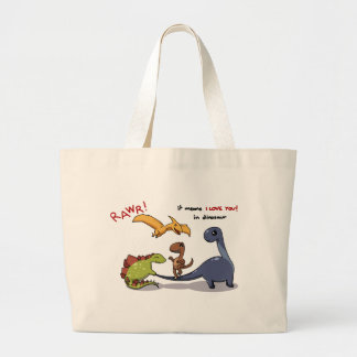 Cute Group of Dinosaurs Rawr Means We love you :) Large Tote Bag