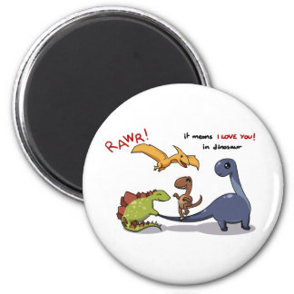 Cute Group of Dinosaurs Rawr Means We love you Magnet