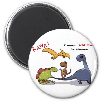 Cute Group of Dinosaurs Rawr Means We love you Refrigerator Magnets