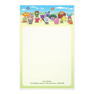 Cute Group of Monsters Note Paper Stationery