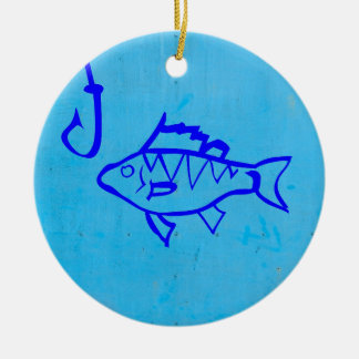 Cute Grunge blue fish and fishing hook Double-Sided Ceramic Round Christmas Ornament
