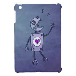 Cute Grunge Happy Singing Robot iPad Mini Cover