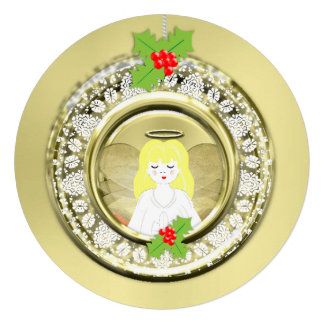 Cute Guardian Angel Festive Holiday Bauble Custom Invites