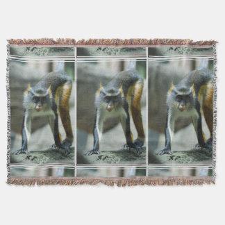 Cute Guenon Wolf's Monkey Throw Blanket