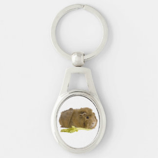 Cute Guinea Pig Close Up Photograph Silver-Colored Oval Metal Keychain