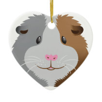 cute guinea pig face ceramic ornament