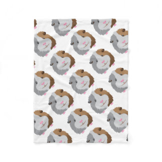 cute guinea pig face fleece blanket