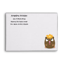 Cute guinea pig happy cartoon illustration envelope