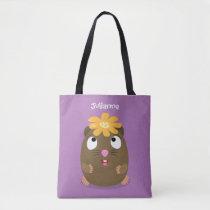 Cute guinea pig happy cartoon illustration tote bag