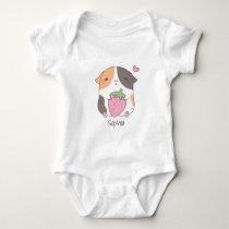 Cute Guinea Pig Hugs Strawberry Doodle Baby Bodysuit