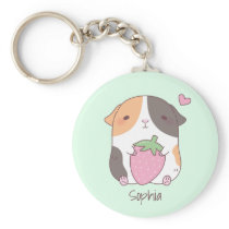 Cute Guinea Pig Hugs Strawberry Personalized Keychain