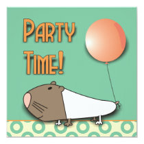Cute Guinea Pig Kids Birthday Party Invitation