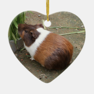 Cute Guinea Pig Double-Sided Heart Ceramic Christmas Ornament