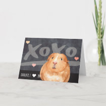 Cute Guinea Pig Personalized Valentines Day Holiday Card