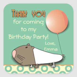 Cute Guinea Pig Thank You Party Stickers
