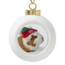 Cute Guinea Pig With Christmas Hat On White Ceramic Ball Christmas Ornament