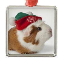 Cute Guinea Pig With Christmas Hat On White Metal Ornament