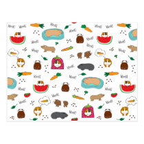 Cute Guinea Pigs Cavy Pellets Carrots Postcard