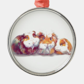 Cute Guinea Pigs Metal Ornament