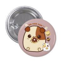 Cute guinea pigs with kawaii food pinback button
