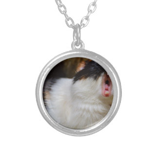 Cute Guineapig Yawning Silver Plated Necklace