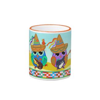 Cute Guitar and Sombrero Owls mug