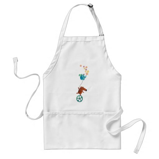 Cute Guy on Monocycle Adult Apron