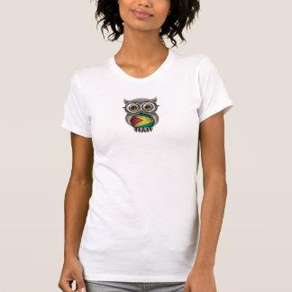 Cute Guyanese Flag Owl Wearing Glasses T-Shirt