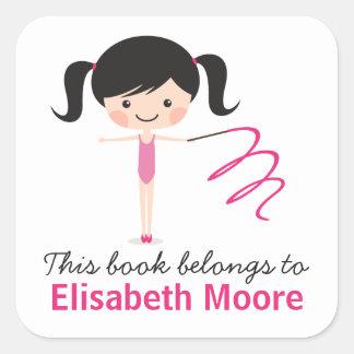 Cute gymnast girl cartoon bookplate book