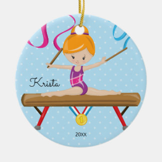 Cute Gymnast Gymnastics Christmas Ornament