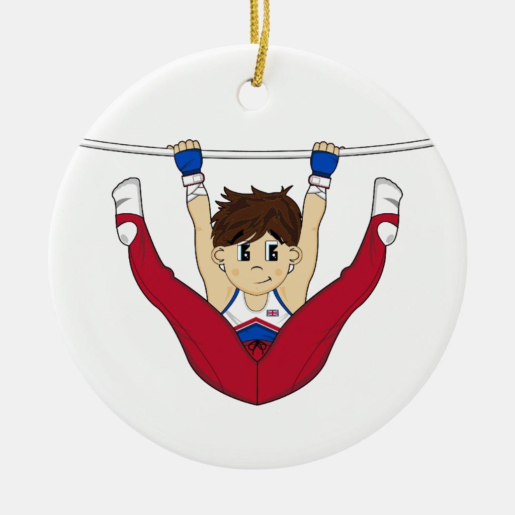 Cute Gymnast on Bar Ornament