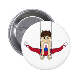 Cute Gymnast on Rings Badge Button