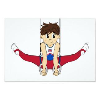 Cute Gymnast on Rings RSVP Card