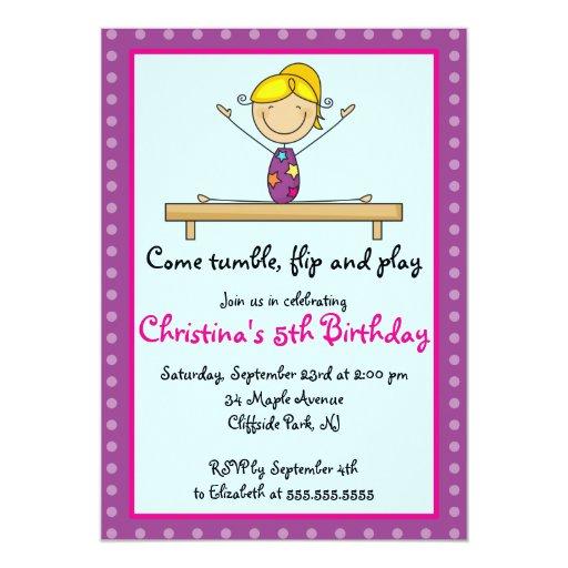 Cute Gymnastic Birthday Party Invitations   Zazzle