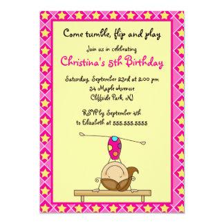Cute Gymnastic Birthday Party Invitations