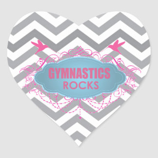 Cute Gymnastic Rocks Pink and Blue Gifts Heart Sticker
