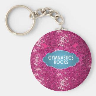 Cute Gymnastic Rocks Pink SPARKLE Keychain