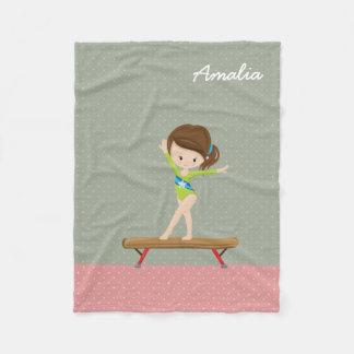Cute gymnastics girl fleece blanket