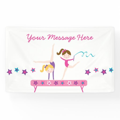 Cute Gymnastics Personalized Birthday Banner