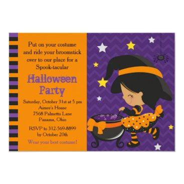 Halloween Themed Cute Halloween African American Witch Party Card